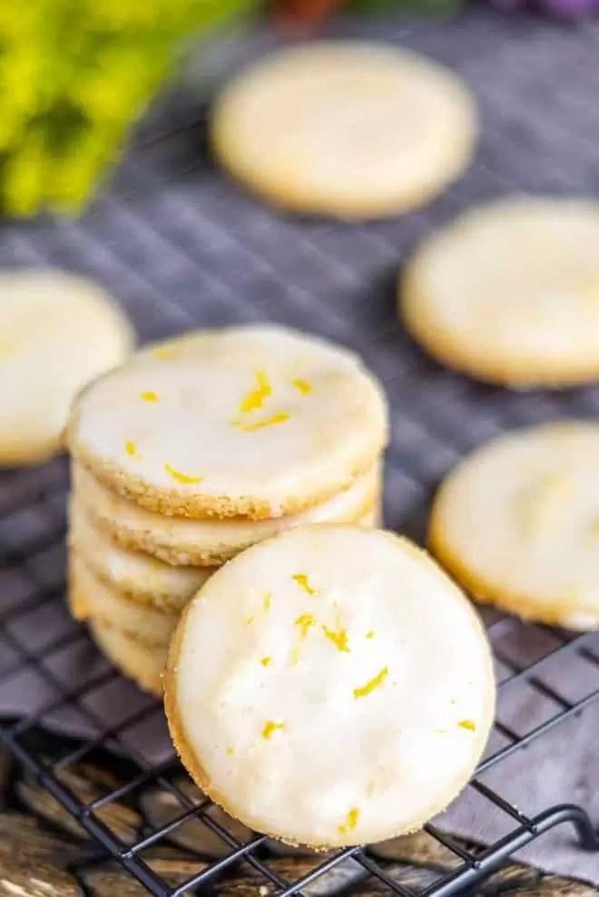 stacked Lemon Shortbread Cookies