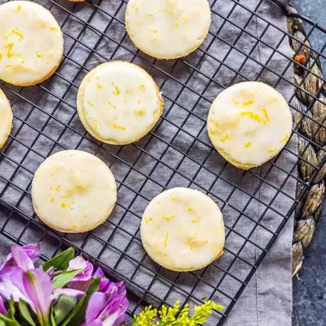 Lemon Shortbread Cookies on cooling rack