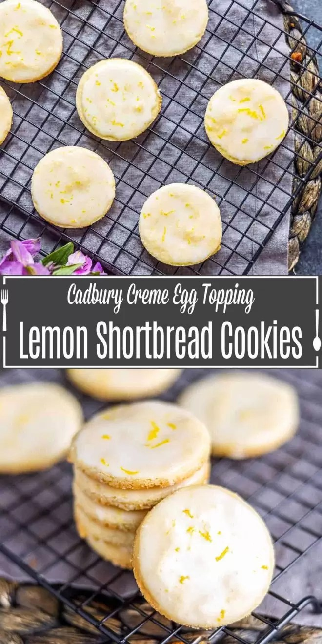 Pinterest image of Lemon Shortbread Cookies with title text