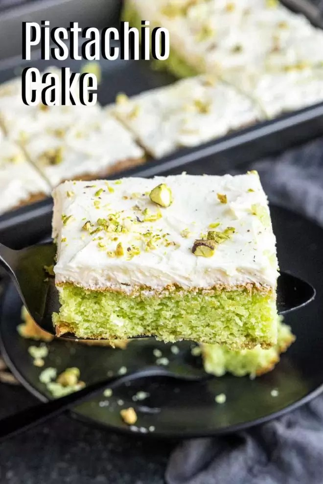 Pinterest image for PIstachio Cake with title text