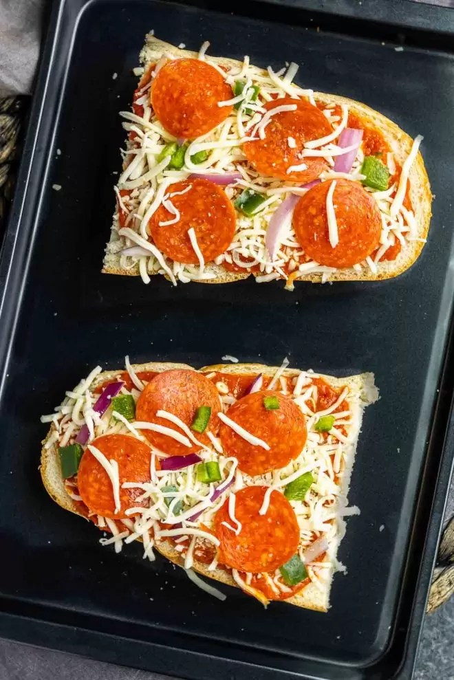 French Bread Pizza on a pan made in the oven