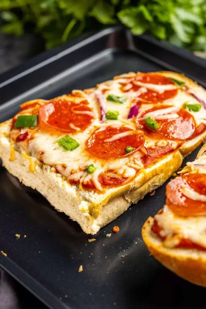 French Bread Pizza topped with pepperoni