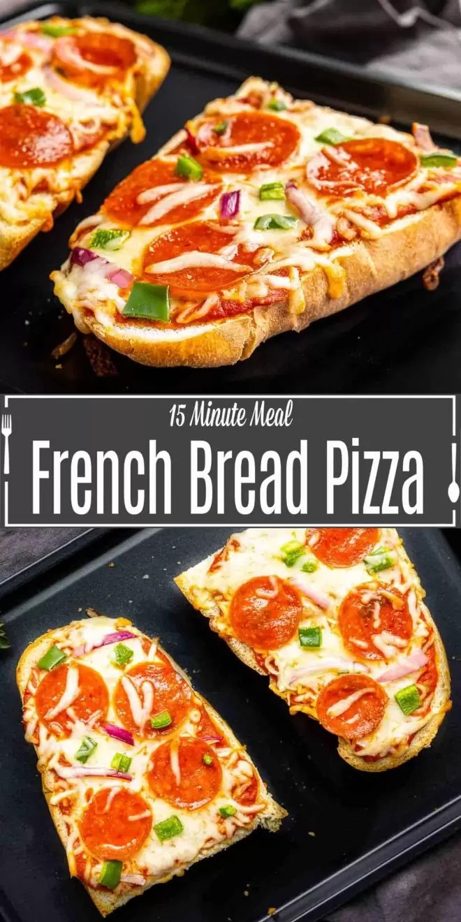 Pinterest image for French Bread Pizza with title text
