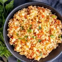 Keto Cauliflower Spanish Rice in a bowl