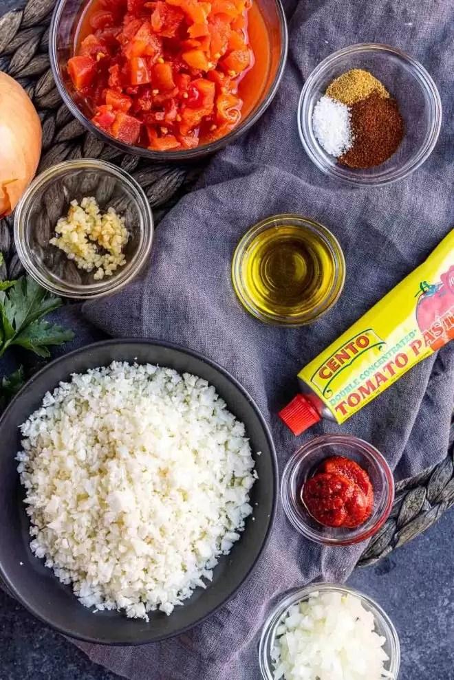 Ingredients you need to make Keto Cauliflower Spanish Rice