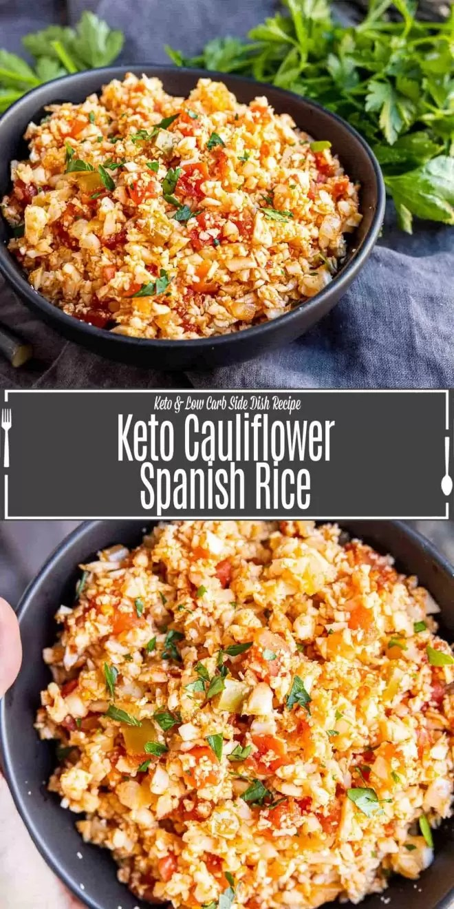 Pinterest image for Keto Cauliflower Spanish Rice with title text