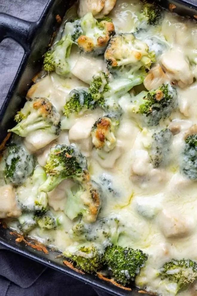 Keto Chicken and Broccoli Alfredo Casserole in black casserole dish