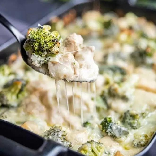 cheesy Keto Chicken and Broccoli Alfredo Casserole