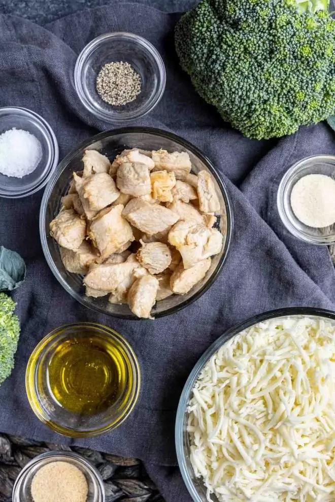 Keto Chicken and Broccoli Alfredo Casserole ingredients