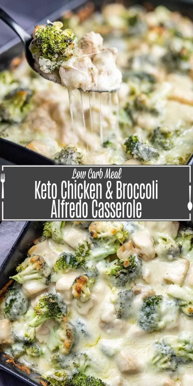Pinterest image for Keto Chicken and Broccoli Alfredo Casserole with title text