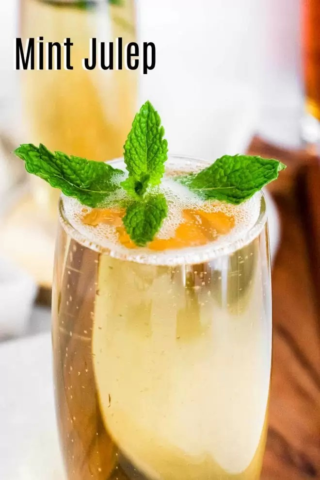 Pinterest image for Mint Julep Spritzers with title text