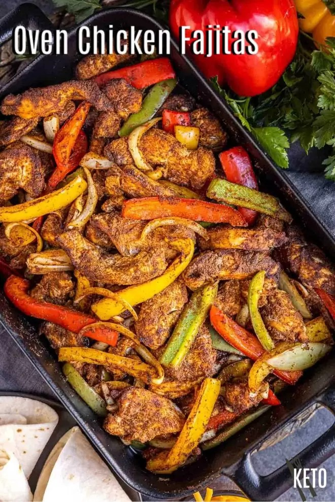Pinterest image of Oven Chicken Fajitas with title text