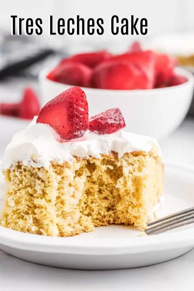 Pinterest image of Tres Leche Cake with title text