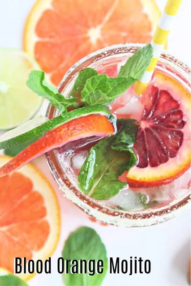 Pinterest image for Blood Orange Mojito with title text