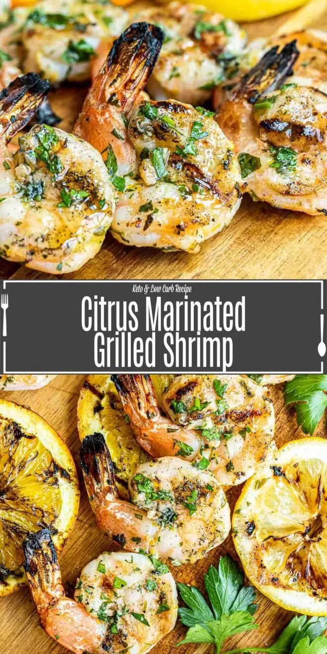 Pinterest image for Citrus Marinated Grilled Shrimp with title text