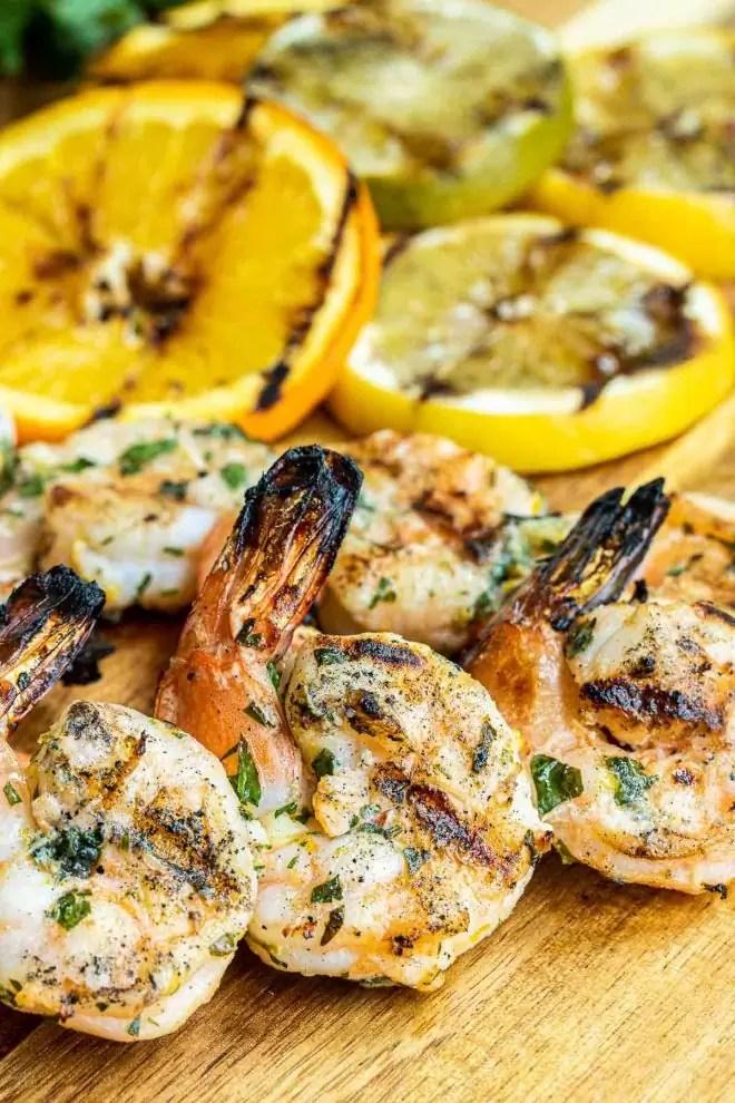 Citrus Marinated Grilled Shrimp on wooden board