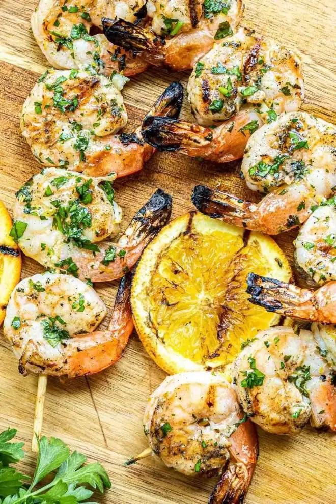 Citrus Marinated Grilled Shrimp with grilled lemon slices