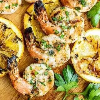 Citrus Marinated Grilled Shrimp skewers