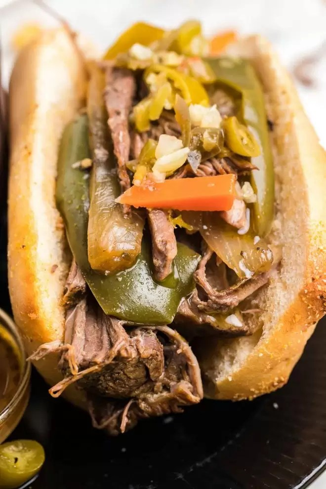 Crock Pot Italian Beef with peppers