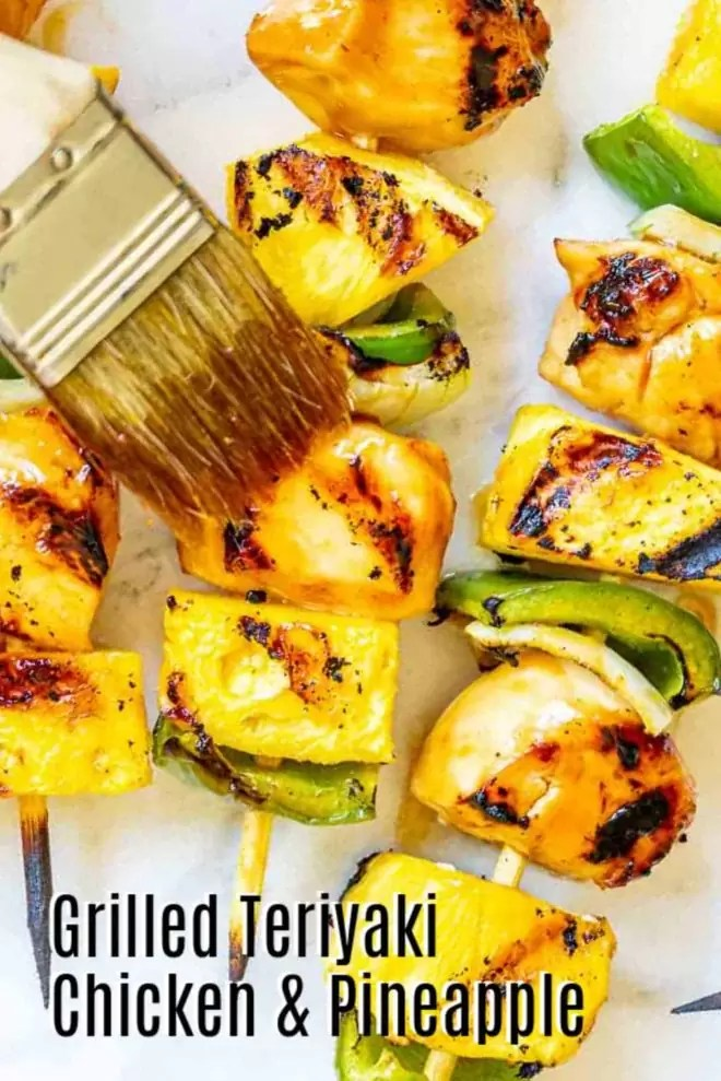 Pinterest image for Grilled Teriyaki Chicken and Pineapple with title text