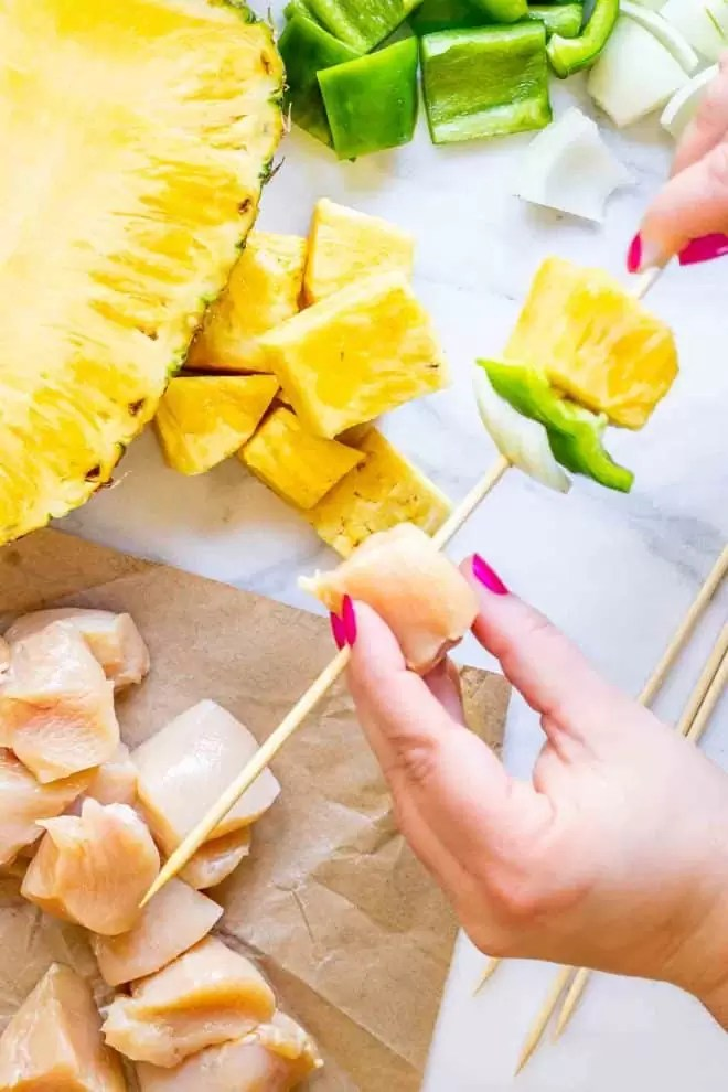 how to make Grilled Teriyaki Chicken and Pineapple skewers