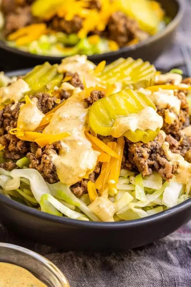 Keto Big Mac Bowl with big mac sauce on top