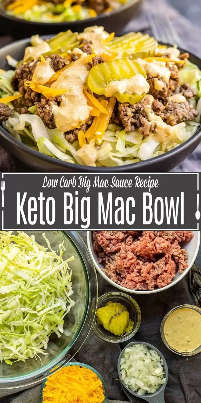 Pinterest image of Keto Big Mac Bowl with title text