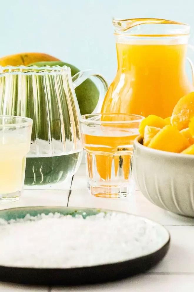 ingredients make a Mango Margarita
