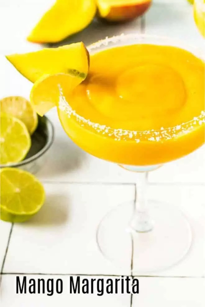 Pinterest image for Frozen Mango Margarita with title text