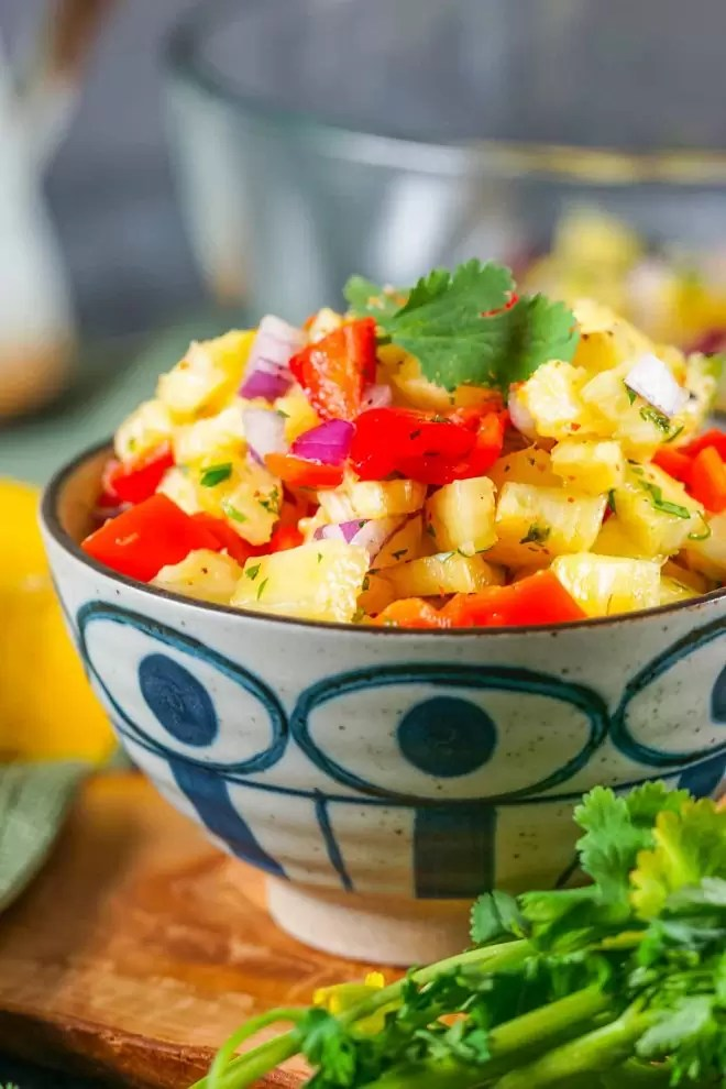 Pineapple Salsa appetizer in a bowl