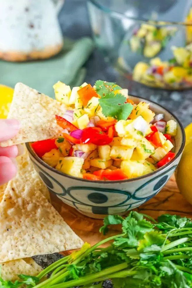 Pineapple Salsa appetizer with tortilla chips