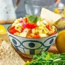 tortilla chip in a bowl Pineapple Salsa