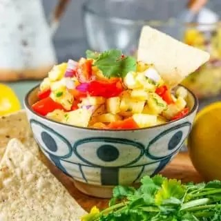 tortilla chip in a bowl Pineapple Salsa