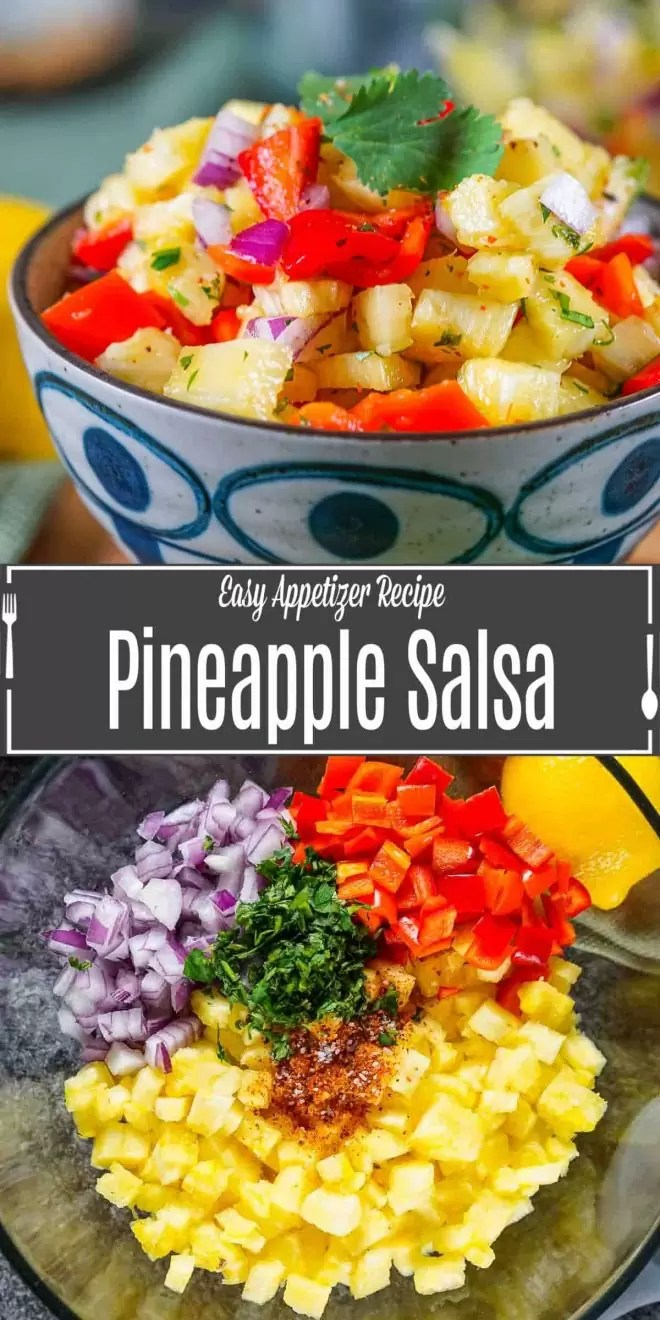 Pinterest image for Pineapple Salsa with title text