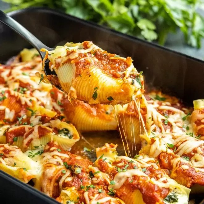 Spinach and Ricotta Stuffed Shells on a spoon
