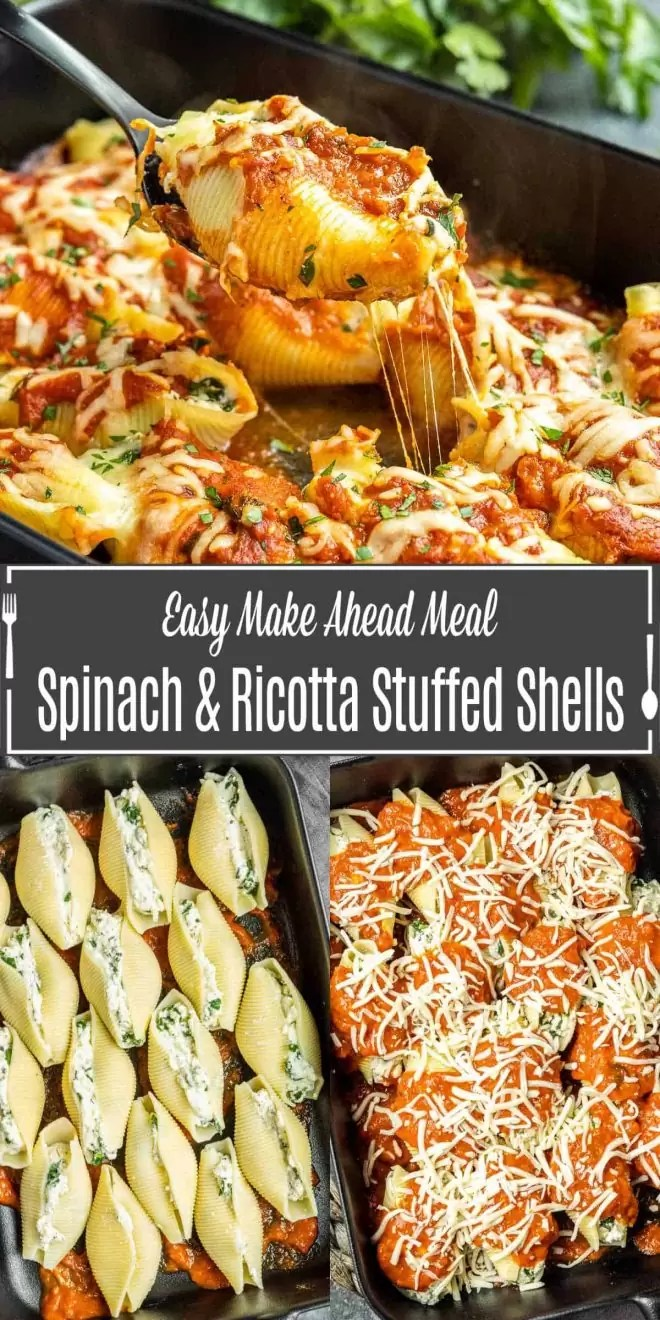 Pinterest image of Spinach and Ricotta Stuffed Shells with title text