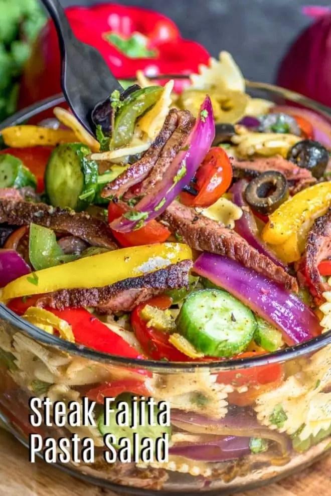 Pinterest image for Steak Fajita Pasta Salad with title text