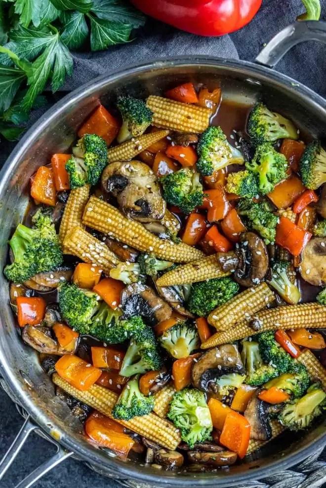 skillet with Vegetable Stir Fry
