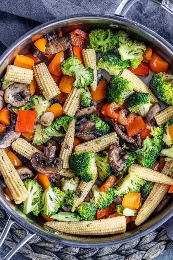 easy Vegetable Stir Fry in skillet