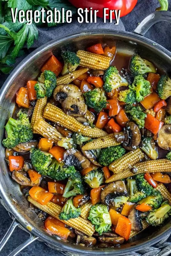 Pinterest image for Stir Fry Vegetables with title text