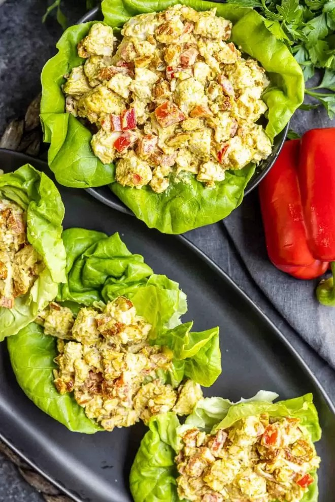 Curry Chicken Salad in lettuce cups on a platter