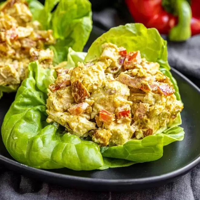 keto Curry Chicken Salad in lettuce cup