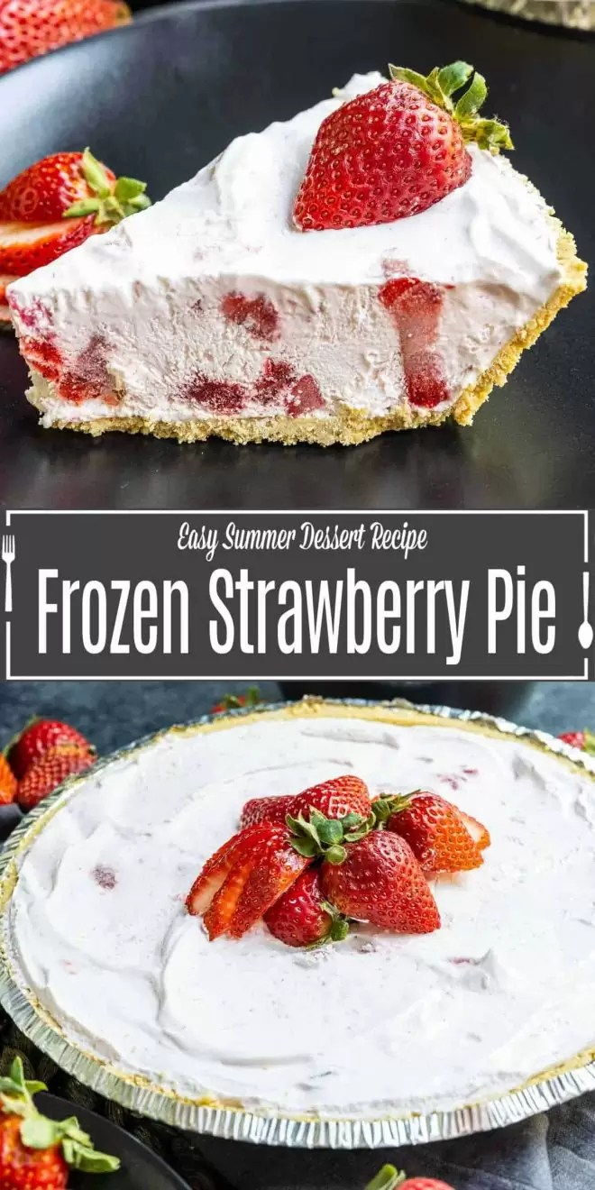 Pinterest image for Frozen Strawberry Pie with title text