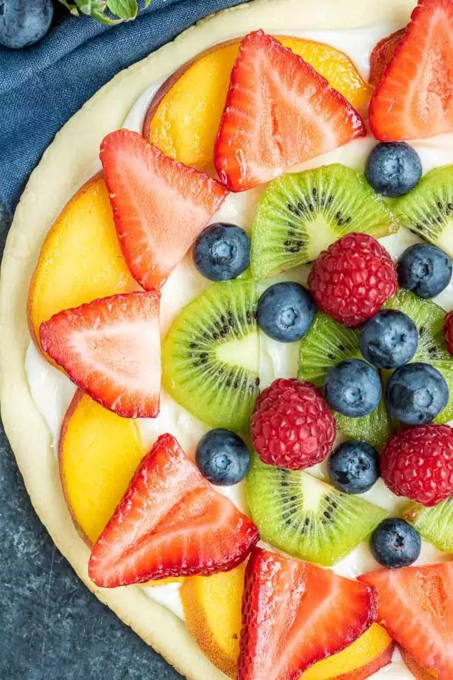 Fruit Pizza healthy dessert topped with fresh fruit