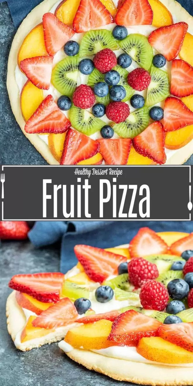 Pinterest image for Fruit Pizza with title text
