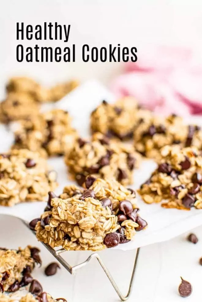 Pinterest image for Healthy Oatmeal Cookies with title text