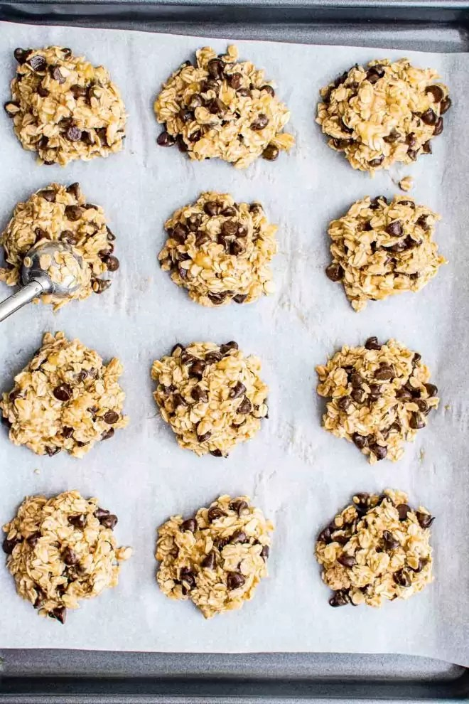 cookie sheet with Healthy Oatmeal Cookies
