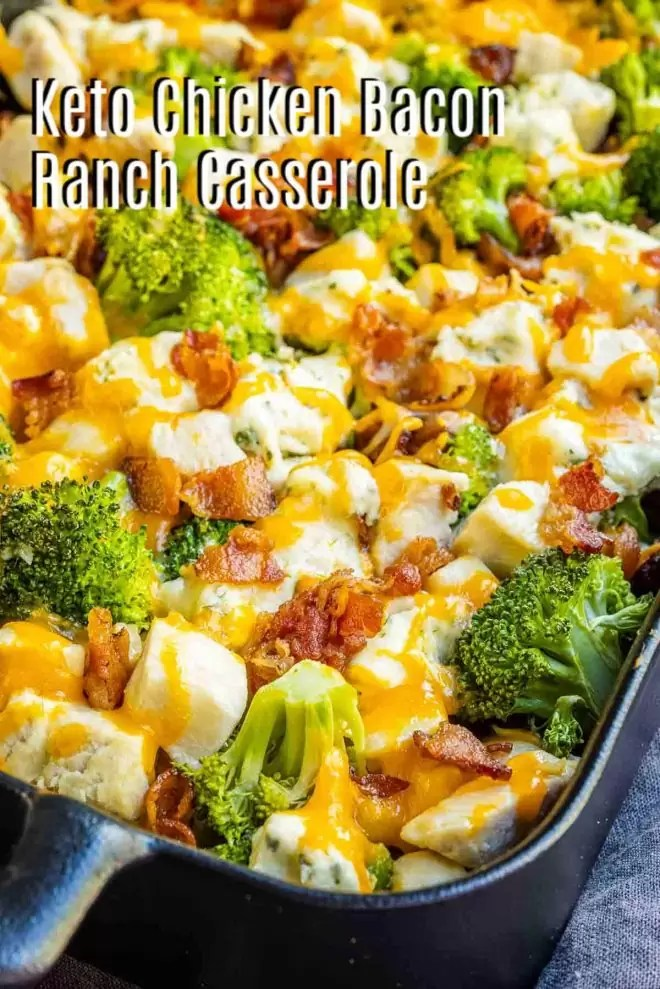 Pinterest image for Keto Chicken Bacon Ranch Casserole with title text