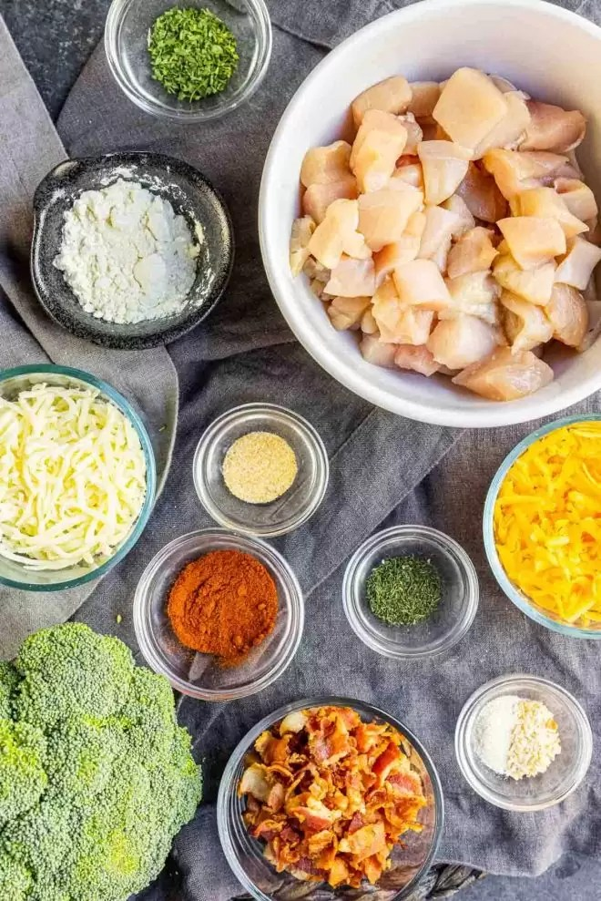 ingredients for Keto Chicken Bacon Ranch Casserole