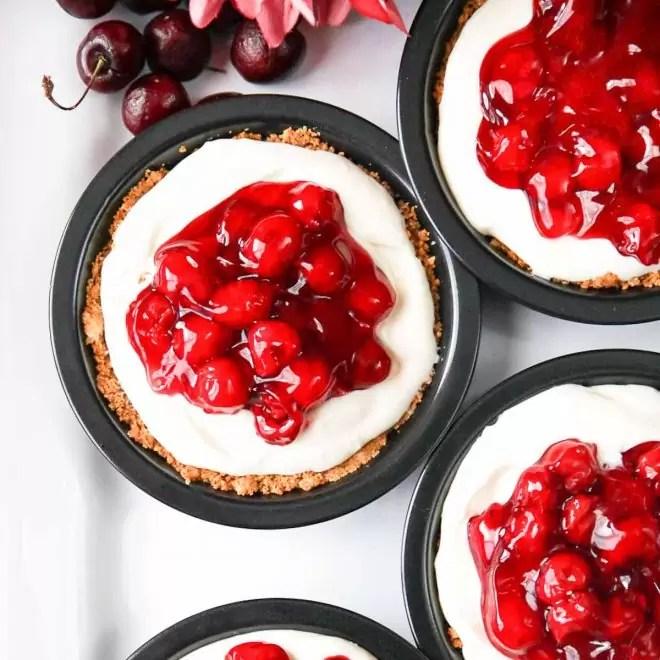 individual size No Bake Cherry Cheesecake